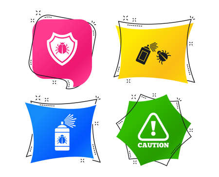 Bug disinfection icons. Caution attention and shield symbols. Insect fumigation spray sign. Geometric colorful tags. Banners with flat icons. Trendy design. Vector