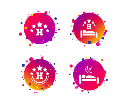 Five stars hotel icons. Travel rest place symbols. Human sleep in bed sign. Gradient circle buttons with icons. Random dots design. Vector