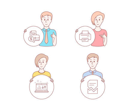People hand drawn style. Set of Accounting report, Sound check and Printer icons. Corrupted file sign. Financial case, Dj controller, Printing device. Damaged document.  Character hold circle button Illustration