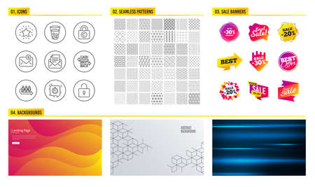 Seamless pattern. Shopping mall banners. Set of Timer, Ice tea and Queue icons. Copyright locker, Rank star and Cashback card signs. Mail correspondence, New mail and Lock symbols. Vector Foto de archivo - 110365343