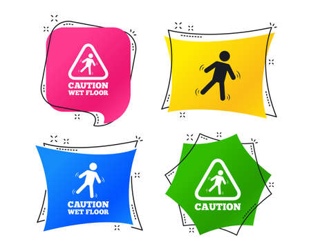 Caution wet floor icons. Human falling triangle symbol. Slippery surface sign. Geometric colorful tags. Banners with flat icons. Trendy design. Vector
