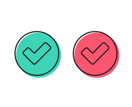 Controleer lijn icoon. Goedgekeurd teek teken. Bevestigen, Klaar of Accepteren symbool. Positieve en negatieve cirkel knoppen concept. Goede of slechte symbolen. Vink Vector aan
