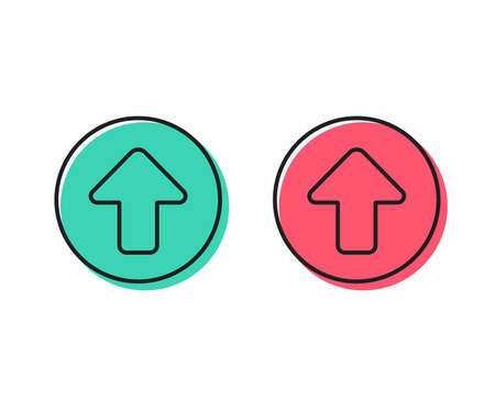 Upload arrow line icon. Direction Arrowhead symbol. Navigation pointer sign. Positive and negative circle buttons concept. Good or bad symbols. Upload Vector Illustration