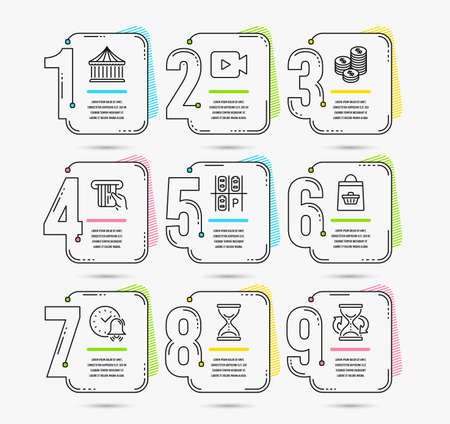 Infographic timeline with 9 options. Set of Coins, Online buying and Parking place icons. Video camera, Carousels and Alarm bell signs. Time hourglass, Credit card and Hourglass. Timeline vector. Illustration