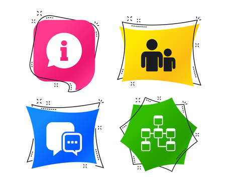 Information sign. Group of people and database symbols. Chat speech bubbles sign. Communication icons. Geometric colorful tags. Banners with flat icons. Trendy design. Vector