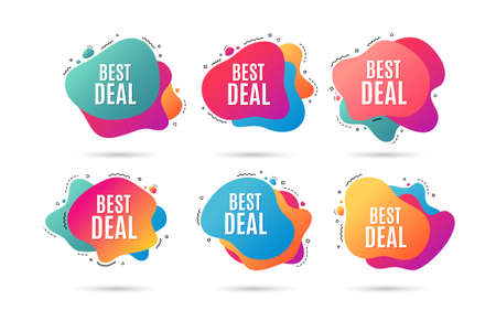 Beste deal. Speciale aanbieding verkoop teken. Reclame kortingen symbool. Abstracte dynamische vormen met pictogrammen. Gradiënt beste deal banners. Vloeibare abstracte vormen. Vector