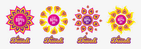 Diwali sales banners. Get Extra 60% off Sale. Discount offer price sign. Special offer symbol. Save 60 percentages. Diwali hindu festival of lights. Shopping tags. Vector