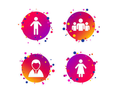 Businessman person icon. Group of people symbol. Man and Woman signs. Gradient circle buttons with icons. Random dots design. Vector