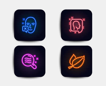 Neon glow lights. Set of Head, Skin condition and Face declined icons. Mint leaves sign. Profile messages, Search magnifier, Identification error. Mentha herbal.  Neon icons. Glowing light banners