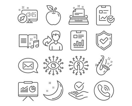 Set of Presentation, Messenger and Jazz icons. Report checklist, Artificial intelligence and Typewriter signs. Report document, Music book and Approved symbols. Apple, Moon and stars. Vector