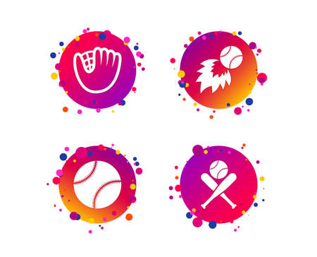 Baseball sport icons. Ball with glove and two crosswise bats signs. Fireball symbol. Gradient circle buttons with icons. Random dots design. Vector Illustration