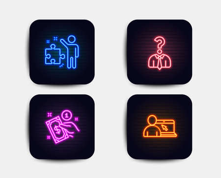 Neon glow lights. Set of Hiring employees, Payment method and Strategy icons. Online education sign. Human resources, Give money, Business plan. Internet lectures.  Neon icons. Glowing light banners Standard-Bild - 110400627