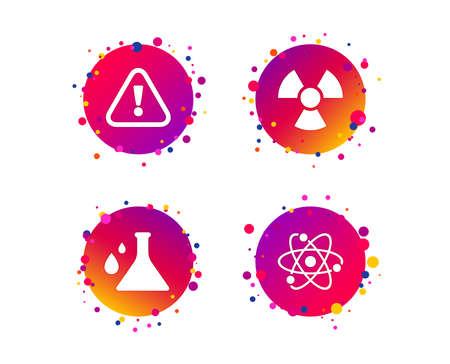 Attention and radiation icons. Chemistry flask sign. Atom symbol. Gradient circle buttons with icons. Random dots design. Vector