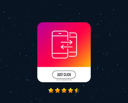 Phone Communication line icon. Incoming and Outgoing call sign. Conversation or SMS symbol. Web or internet line icon design. Rating stars. Just click button. Vector