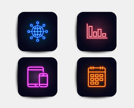 Neon glow lights. Set of International globe, Histogram and Mobile devices icons. Calendar sign. World networking, Economic trend, Smartphone with tablet. Event reminder.  Neon icons. Vector