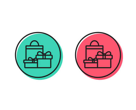 Gift boxes with bag line icon. Present or Sale sign. Birthday Shopping symbol. Package in Gift Wrap. Positive and negative circle buttons concept. Good or bad symbols. Shopping Vector