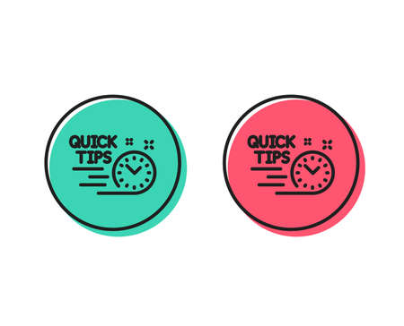 Quick tips line icon. Helpful tricks sign. Tutorials symbol. Positive and negative circle buttons concept. Good or bad symbols. Quick tips Vector