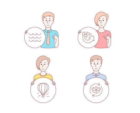 People hand drawn style. Set of 24 hours, Air balloon and Waves icons. Return parcel sign. Repeat, Flight travel, Water wave. Exchange of goods.  Character hold circle button. Man with like hand Illustration