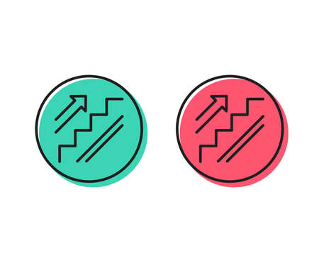 Stairs line icon. Shopping stairway sign. Entrance or Exit symbol. Positive and negative circle buttons concept. Good or bad symbols. Stairs Vector Illustration