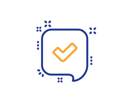 Approve line icon. Accepted or confirmed sign. Speech bubble symbol. Colorful outline concept. Blue and orange thin line color icon. Confirmed Vector Illustration