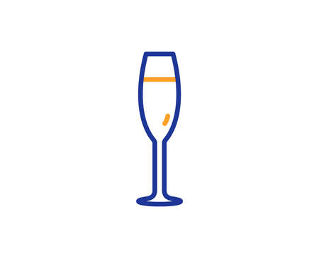 Champagne glass line icon. Wine glass sign. Colorful outline concept. Blue and orange thin line color icon. Champagne glass Vector Illustration