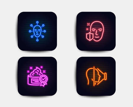 Neon glow lights. Set of Face biometrics, Face protection and Cream icons. Facial recognition, Secure access, Best lotion. Phone scanning.  Neon icons. Glowing light banners. Vector Illustration
