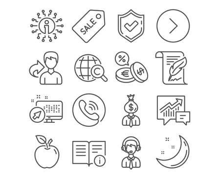Set of Feather, Shipping support and Sale ticket icons. International Сopyright, Manager and Technical info signs. Forward, Accounting and Currency exchange symbols. Vector
