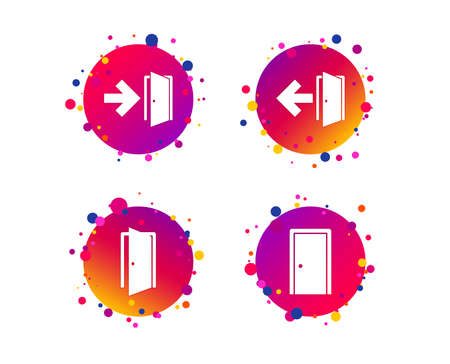 Doors icons. Emergency exit with arrow symbols. Fire exit signs. Gradient circle buttons with icons. Random dots design. Vector Standard-Bild - 111104423