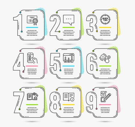 Infografik-Zeitleiste. Set von Blog-, Umfrageergebnissen und mobilen Umfragesymbolen. Technische Info, Zertifikat und Tipps Zeichen. Timeline-Vektor Vektorgrafik
