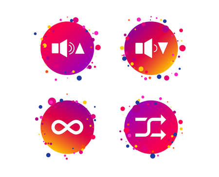 Player control icons. Sound louder and quieter signs. Dynamic symbol. Shuffle random and repeat loop. Gradient circle buttons with icons. Random dots design. Vector