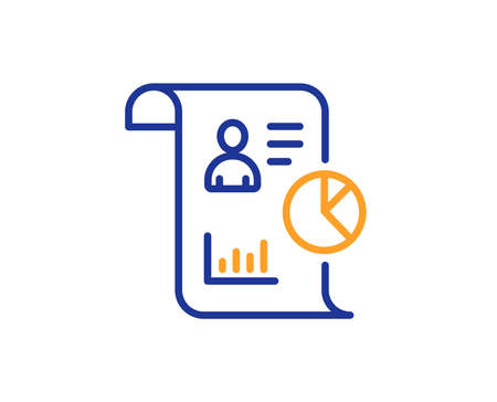 Report line icon. Business management sign. Employee statistics symbol. Colorful outline concept. Blue and orange thin line color icon. Report Vector
