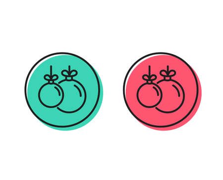 Christmas ball line icon. New year tree decoration sign. Positive and negative circle buttons concept. Good or bad symbols. Christmas ball Vector 일러스트