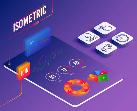 Isometric vector. Set of Elastic, Touchpoint and Time icons. Megaphone sign. Resilience, Touch technology, Office clock. Advertisement.  Software or Financial markets. Analysis data concept. Vector Stock Illustratie