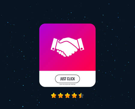 Handshake sign icon. Successful business symbol. Web or internet icon design. Rating stars. Just click handshake button. Vector Standard-Bild - 111104435