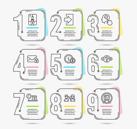 Infographic template with numbers 9 options. Set of Login, Crane claw machine and Usd coins icons. Select user, People communication and Quiz test signs. Vector