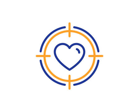 Heart in Target aim line icon. Love dating symbol. Valentines day sign. Colorful outline concept. Blue and orange thin line color icon. Valentine target Vector