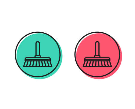 Cleaning mop line icon. Sweep or Wash a floor symbol. Washing Housekeeping equipment sign. Positive and negative circle buttons concept. Good or bad symbols. Cleaning mop Vector