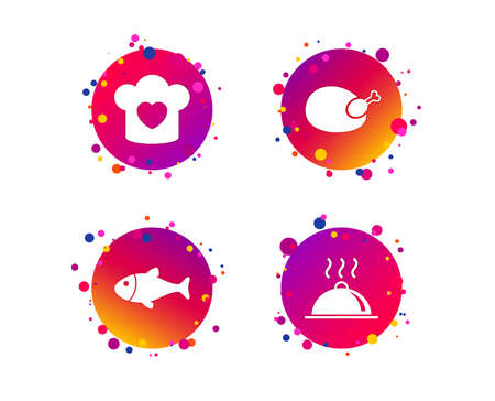 Chief hat with heart and cooking pan icons. Fish and chicken signs. Hot food platter serving symbol. Gradient circle buttons with icons. Random dots design. Vector