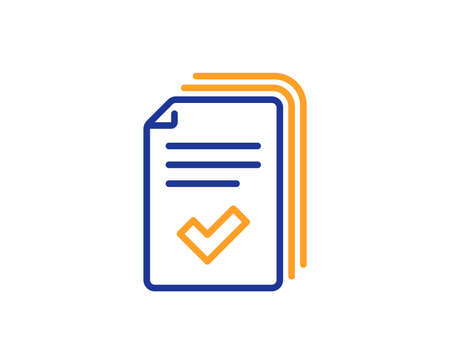 Handout line icon. Documents example sign. Colorful outline concept. Blue and orange thin line color icon. Handout Vector Illustration