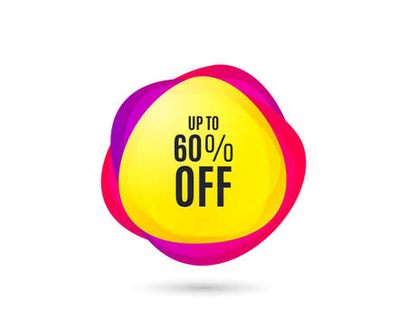 Up to 60% off Sale. Discount offer price sign. Special offer symbol. Save 60 percentages. Gradient sale tag. Abstract shopping banner discount. Template for design. Vector
