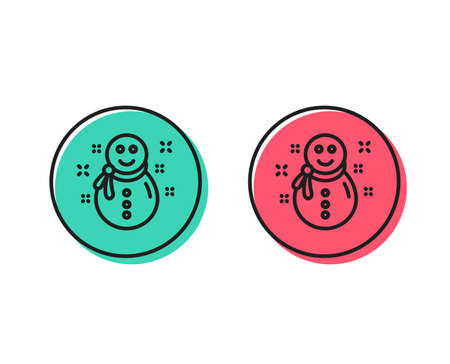 Christmas snowman line icon. New year sign. Winter holiday symbol. Positive and negative circle buttons concept. Good or bad symbols. Snowman Vector Archivio Fotografico - 111104447