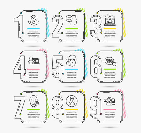 Infographic timeline. Set of Person, Online education and Quick tips icons. Problem skin, Best manager and Good mood signs. Face search, Approved and People talking. Timeline vector 向量圖像