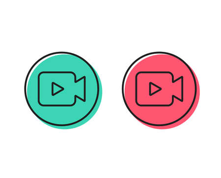 Video Camera line icon. Movie or Cinema sign. Multimedia symbol. Positive and negative circle buttons concept. Good or bad symbols. Video camera Vector