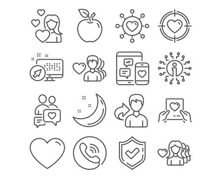 Set of Love, Valentine target and Dating network icons. Dating chat, Love mail and Heart signs. Social media symbol. Heart in aim, Relationships network, Valentine letter. Vector