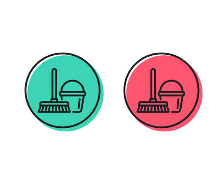 Cleaning bucket with mop line icon. Washing Housekeeping equipment sign. Positive and negative circle buttons concept. Good or bad symbols. Bucket with mop Vector