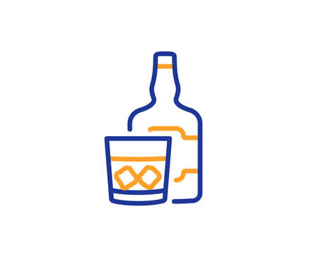 Whiskey glass with ice cubes line icon. Scotch alcohol sign. Colorful outline concept. Blue and orange thin line color icon. Whiskey glass Vector