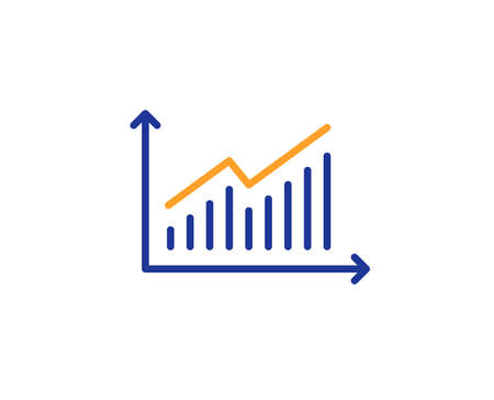 Chart line icon. Report graph or Sales growth sign. Analysis and Statistics data symbol. Colorful outline concept. Blue and orange thin line color icon. Graph Vector Çizim