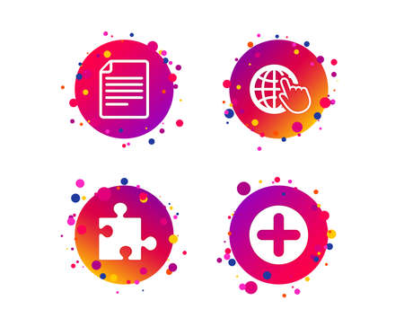 Plus add circle and puzzle piece icons. Document file and globe with hand pointer sign symbols. Gradient circle buttons with icons. Random dots design. Vector Illustration