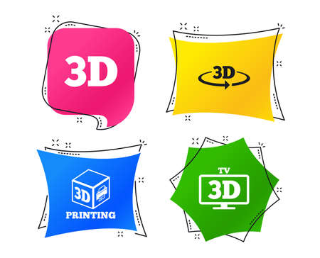 3d technology icons. Printer, rotation arrow sign symbols. Print cube. Geometric colorful tags. Banners with flat icons. Trendy design. Vector