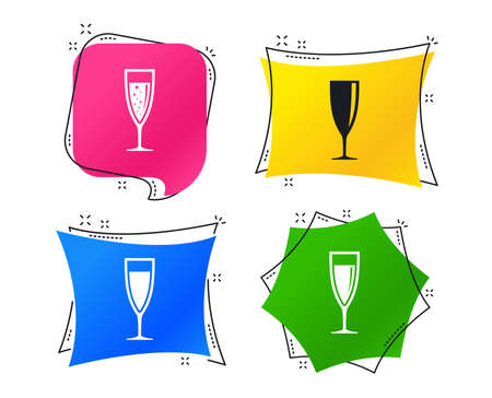 Champagne wine glasses icons. Alcohol drinks sign symbols. Sparkling wine with bubbles. Geometric colorful tags. Banners with flat icons. Trendy design. Champagne glass vector